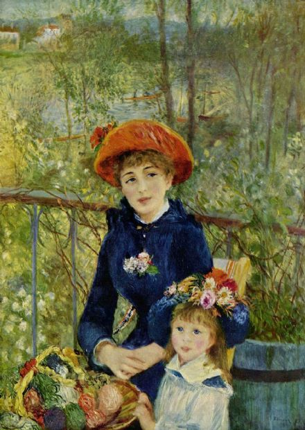 Renoir, Pierre Auguste: Two Sisters, or On The Terrace, 1881. Fine Art Print.  (001564)